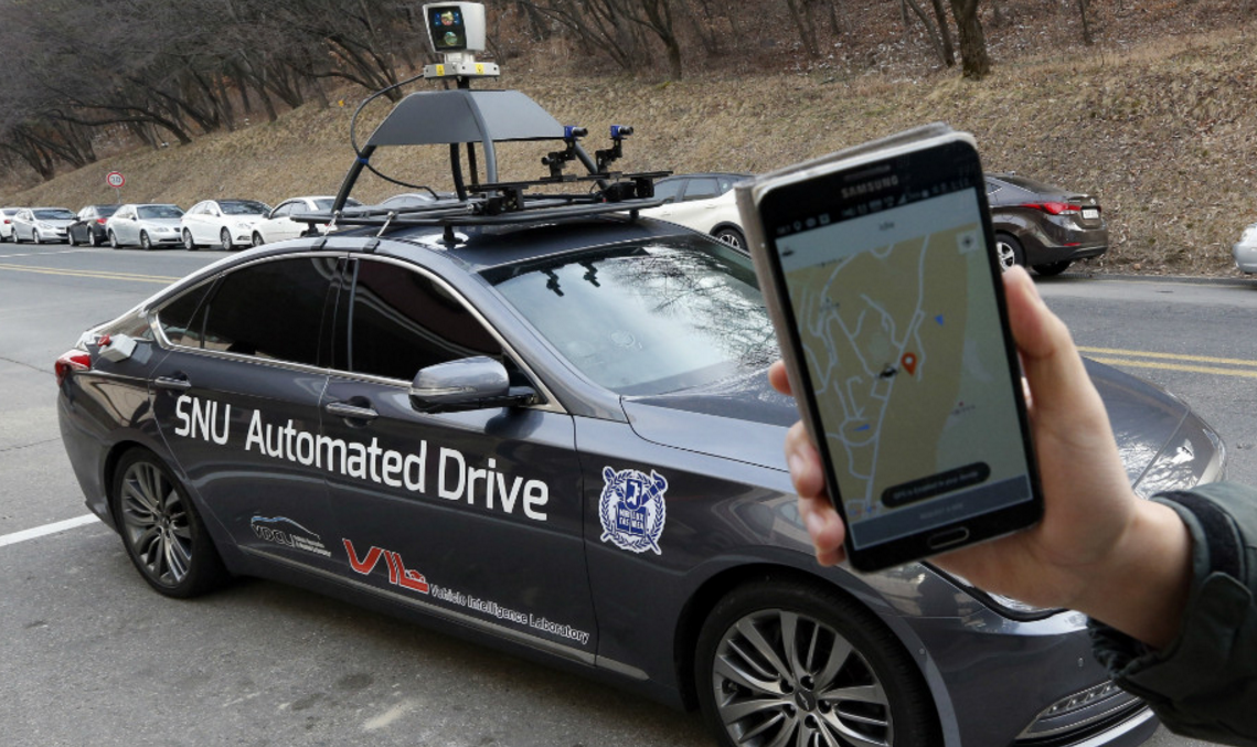 Hyundai tests its self-driving car on public roads in South Korea.