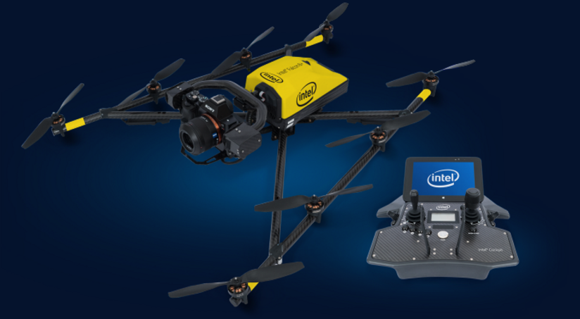 Intel Falcon 8+ drone and Intel Cockpit.