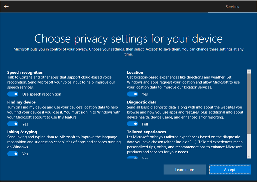 Windows 10 security options screen
